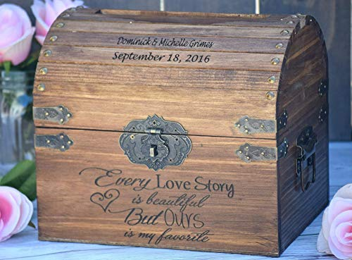 Every Love Story is Beautiful But Ours is my Favorite with Names and Date on Lid Slats - Wedding Card Box - Wedding Card Holder - Rustic Wedding Decor - Keepsake Box -