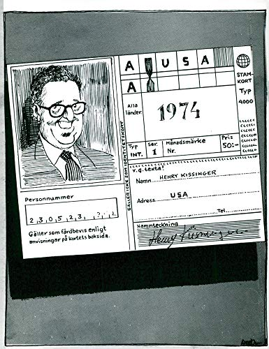 Vintage photo of Signed travel certificate with caricature representing Henry Kissinger