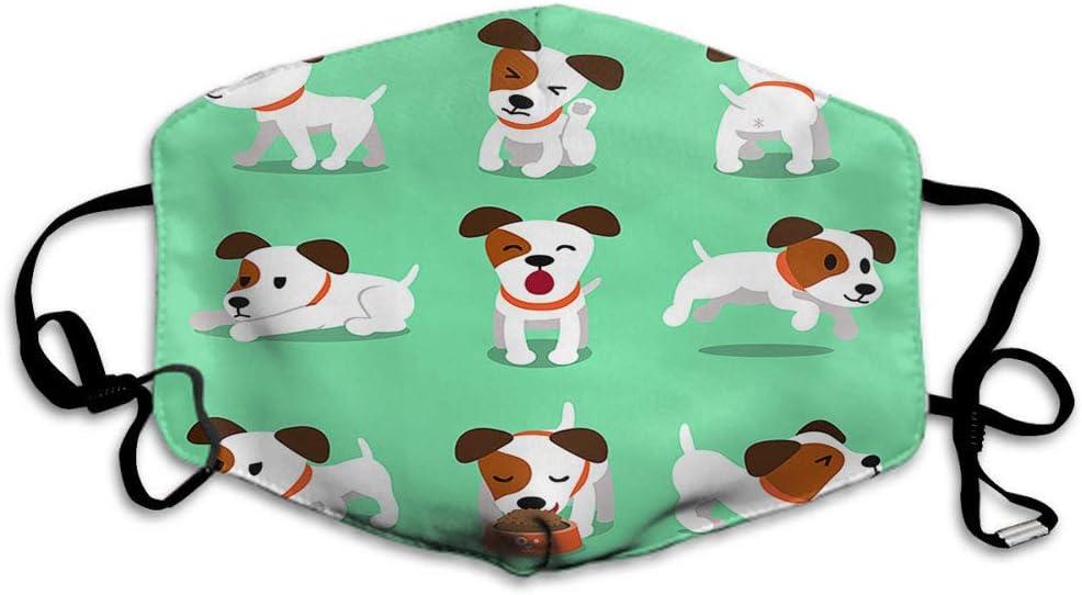 Máscara de perro F con diseño de animales de dibujos animados con sonrisas dormidas, unisex, reutilizable, lavable, de poliéster, antipolvo, para hombres y mujeres, al aire libre, color verde y blanco