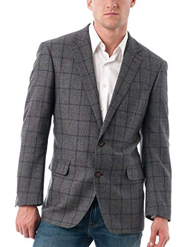 Chama Men's Two Button Single Breasted Classic&Slim Fit Sport Coat Wool Blazer (Grey&Purple, (Mens Two Button Single)