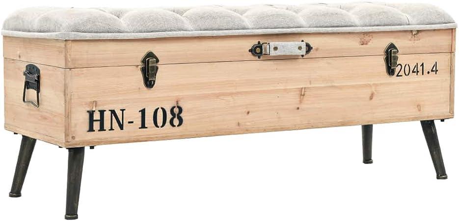 Festnight Banco de Almacenamiento de Diseño Vintage Puf Caja de Almacenamiento con Patas de Acero Madera Maciza y MDF 120x40x50cm: Amazon.es: Hogar