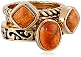 "Barse ""Glisten"" Bronze Orange Sponge Coral Stack Ring, Size 7"