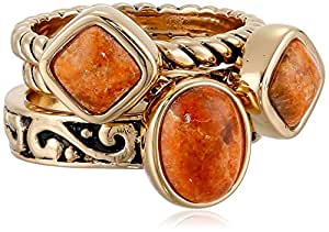 "Barse ""Glisten"" Bronze Orange Sponge Coral Stack Ring"