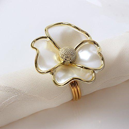YCT White flowers Napkin Rings for Wedding, Party, Holiday, Dinner Decor.A Set Of 6. (white+gold) (Flower Napkin Rings)