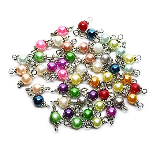 Beading Station 50-Piece Handcrafted Glass Pearl Beads Links with Silver Wire and Daisy for Jewelry Making
