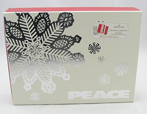 Hallmark Christmas Boxed Cards PX6197 20 Pc. Silver Snowflake - Peace Holiday Card Set with Seals - Holiday Card Seals
