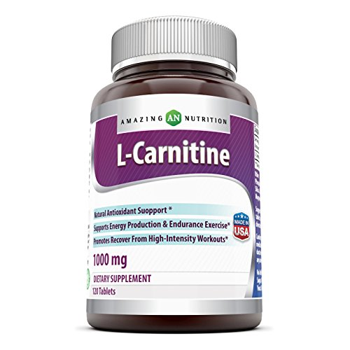 Amazing Nutrition L Carnitine Fumarate Supplement - 1000 mg Mitochondrial Energy Optimizer Tablets - Vegan Workout Results and Recovery Formula - 120 Easy to Swallow Pills Per Bottle