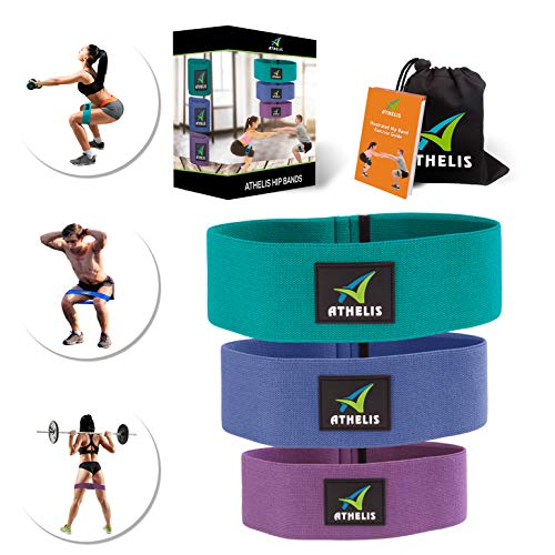 ATHELIS 3 Hip Bands | Thick Booty Resistance Circle Loops for Men & Women, Workout Guide & Bag- Made Special Non-Slip Cotton, Ideal Glutes Legs & Thighs (Best Booty Workouts With Weights)
