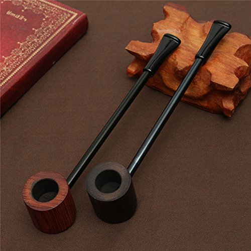New Arrival! Ebony Wood Pipe Smoking Pipes Portable Smoking Pipe Herb Tobacco Pipes Grinder Smoke - Smoke Clay Pipe