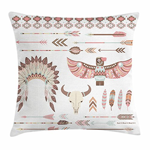 Throw X Headdress Cushion Pillow Tribal Decorative Square Case Arrows Animal Multicolor Cover 18 Native Aztec American Native Pillow Motif with Culture Accent 18 Inches Collection 6qF5t1wE