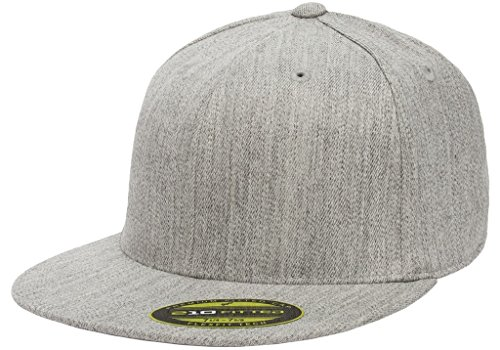 Flexfit Premium Flatbill Cap – Fitted 6210 - Large/X-Large (Heather Gray)