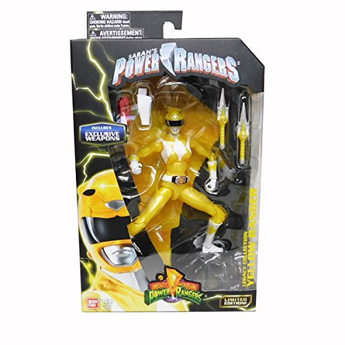 Mighty Morphin Power Rangers Legacy Collection Limited Edition 6.5 Inch Yellow Ranger with Metallic Finish and Exclusive - Mighty Weapons Power Rangers Morphin