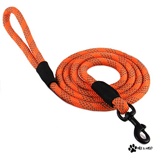 Max and Neo Rope Leash Reflective 6 Foot - We Donate a Leash to a Dog Rescue for Every Leash Sold (ORANGE, 6 FT x 1/2')