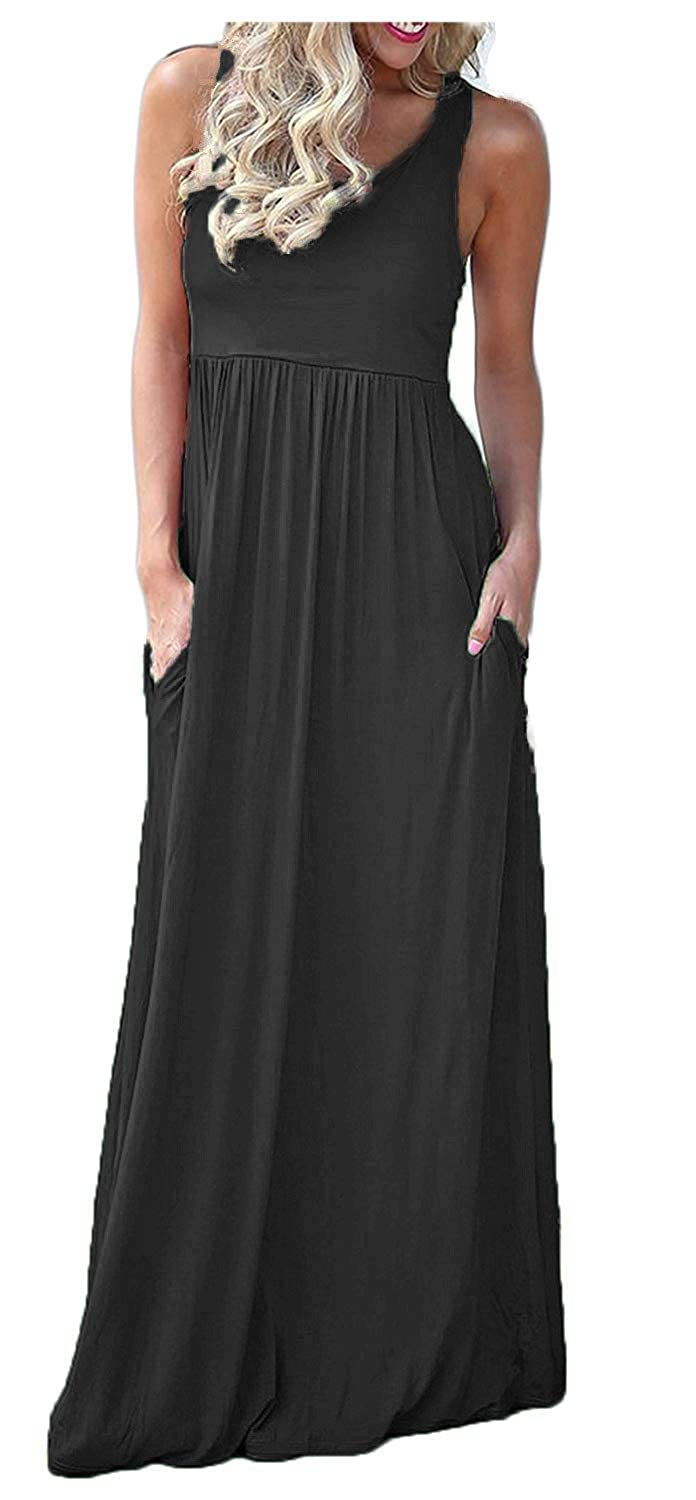 e944c04856 Sleeveless floral print maxi dress with crew neckline and racerback.This  dress features an elastic band at waist for a flattering fit.Pockets at side