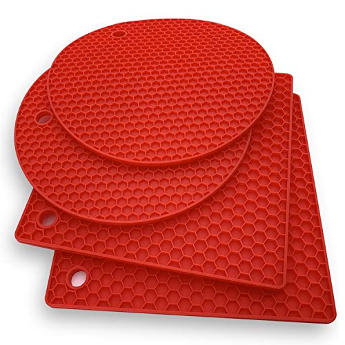 (Silicone Trivet Mat Hot Pads: 4 Multi Purpose Pot Holders and Trivets - Heat Resistant Pot Holder Pad Set for Hot Dishes and Table - Kitchen Potholders for Jar Opener, Spoon Holder, Oven Mitts (RED))