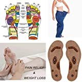 Brown, Ikevan Magnetic Massage Shoe Insoles Gel Pad Therapy Acupressure Foot Care Cushion (6-9)