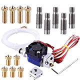 EAONE All-Metal J-Head V6 Hotend Kit with 5 Pcs Extruder Print Head + 5 Pcs Nozzle Throat + 4 Pcs Volcano Extruder Nozzles + 1 Pc Volcano Heating block for E3D V6 Makerbot RepRap 3D Printers
