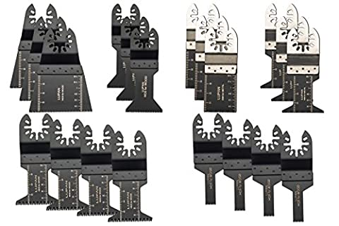 Lupan 20pcs Metal/wood Oscillating Multitool Saw Blade Set Fits Fein Multimaster, Porter Rockwell Cable ,Black & Decker ,Bosch Craftsman ,Ridgid Ryobi ,Makita Milwaukee ,Dewalt, Chicago and (Kobalt Hole Saw Set)