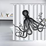 Nautical Shower Curtains Gray Kraken Octopus Shower Curtain - Fabric,Cool Vintage Nautical shower curtain Ocean Themed Shower Curtains for Home Decor and Gifts,72x72 inch, including Shower Curtain Hooks,White and Grey