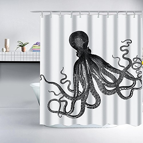 Gray Kraken Octopus Shower Curtain - Fabric,Cool Vintage Nautical Shower Curtain Ocean Themed Shower Curtains for Home Decor and Gifts,72x72 inch, Including Shower Curtain Hooks,White and Grey