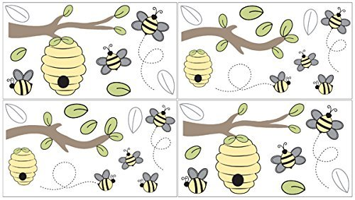 Sweet Jojo Designs Yellow and White Baby and Kids Peel and Stick Wall Decal Stickers Art Nursery Decor for Honey Bee Collection - Set of 4 Sheets