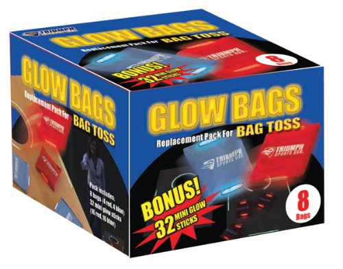 Triumph 8 Glow-in-the-Dark Cornhole Bean Bag Set and Includes 32 Replacement Glow Sticks