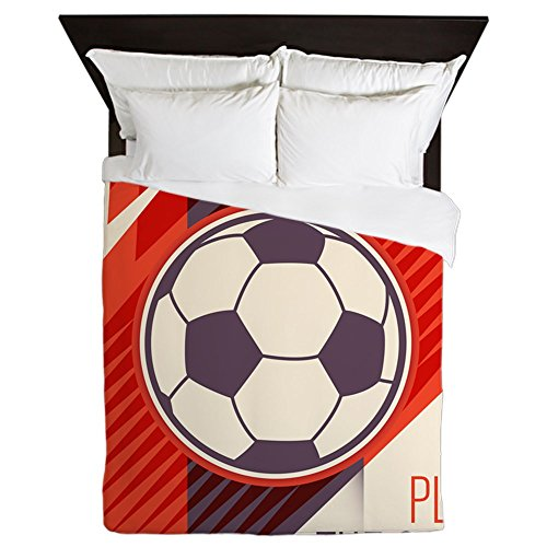 Queen Duvet Cover Soccer Football Play The Game Red by Royal Lion