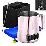 Stainless Steel Milk Frothing Pitcher With Integrated Thermometer, 20oz/600ml Milk Coffee Cappuccino Latte Art Frothing Pitcher Barista Milk Jug Cup, Measurements on Both Sides Include Art Pen & Cloth