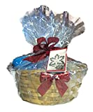 Luxury Spa Gift Basket with Bath Puff Bath Bombs Votive candles and candle holder