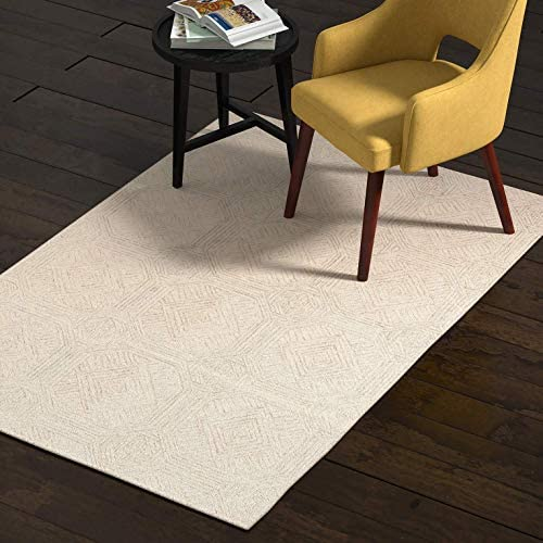 Amazon Com Amazon Brand Rivet Geometric Wool Area Rug 4 X 6 Foot Grey Ivory Furniture Decor