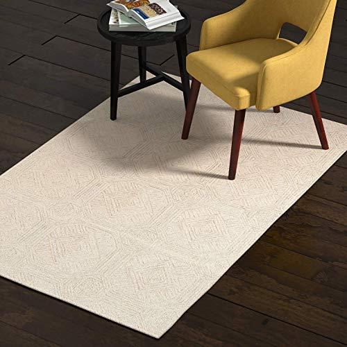 (Rivet Geometric Wool Area Rug, 4 x 6 Foot, Grey, Ivory)