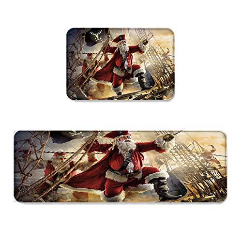 (SUN-Shine Nautical Pirate Santa Claus Kitchen Rugs and Mats 2 Pieces, Nautical Pirate Santa Claus Decorative Carpet Floor Mat for Home Holiday Runner Bathroom Non Slip Doormat)