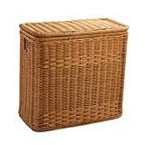 The Basket Lady 3-Compartment Wicker Laundry Hamper | Clothes Hamper, Toasted Oat