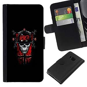 KLONGSHOP // Tirón de la caja Cartera de cuero con ranuras para tarjetas - Slayer Cráneo gótico oscuro - HTC One M9 //