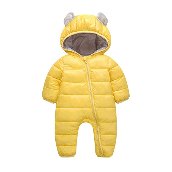 a0eb21906e8e girlove 💕 Baby Down Jacket Rompers Toddler Boys Girls Winter Thick Warm  Cartoon Hooded Zipper Cotton Jumpsuit (Yellow
