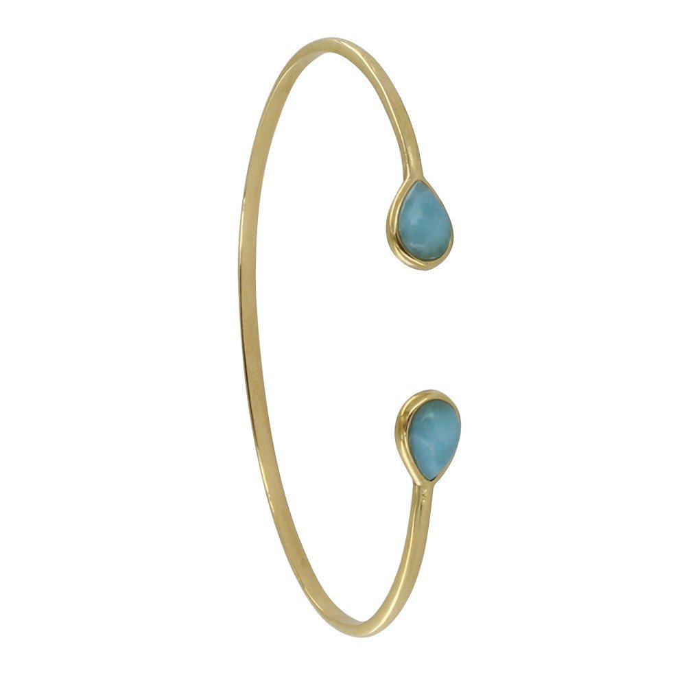 Les Poulettes Jewels - Gold Plated Bracelet Two Drops of Larimar