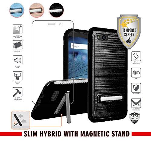 ZTE Avid 4 Case, Tempo X/Go, Blade Vantage, Fanfare 3, ZFive C/G with Tempered Glass Screen Protector, Metallic Slim Hybrid [Shockproof] Magnetic [Kickstand] (Black)