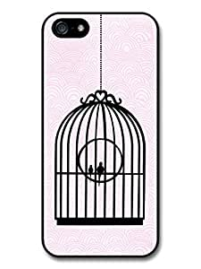 Shabby chic iPhone 5 Case Birds in a cage pink background