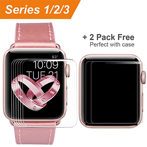 [6 Pack] Compatible Apple Watch Screen Protector 38mm Series 3 2 1,COVERY HD Anti-Scratch Bubble Free Film Accessories Compatible iWatch 38mm -HD Clear