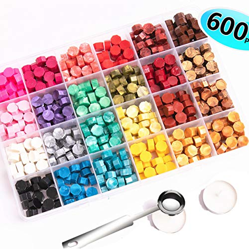600 Pcs Octagon Sealing Wax Beads with 2 Pcs Tea Candles and 1 Pcs Wax Melting Spoon for Wax Sealing Stamp (24 Colors)