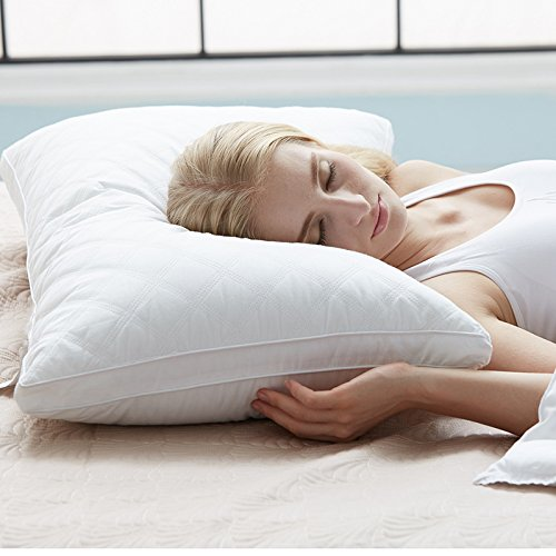 Pillows for Sleeping, Goose Down Alternative Quilted Bed Pillow 2 Pack, FDA Registered, Super Soft Plush Fiber Fill, Adjustable Loft, Relief for Neck Pain, Hypoallergenic by Sable, Queen (Down Bed Jacket)