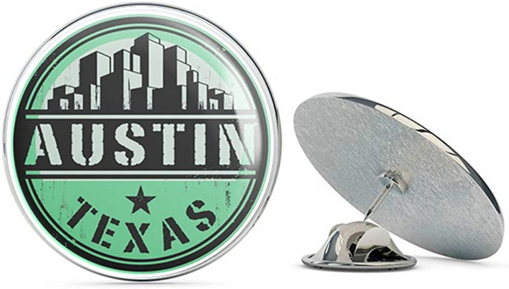 Austin Texas USA Round Metal 0.75 Lapel Pin Hat Shirt Pin Tie Tack Pinback