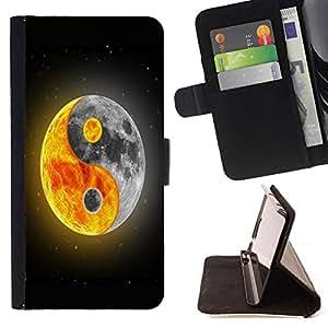 - Moon Night - - Prima caja de la PU billetera de cuero con ranuras para tarjetas, efectivo Compartimiento desmontable y correa para la mu?eca FOR Apple iPhone 5 5S King case