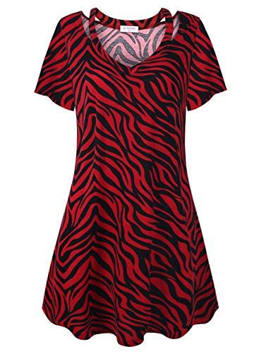 (Bulotus Casual Dresses for Women Summer Dress Zebra Print Short Sleeve, Black Red, Large)
