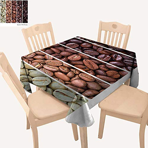 haommhome Coffee Outdoor Picnics Vertical Banner Stages of Beans from Raw to Roasted Java Processing Addictive Square Tablecloth W 36