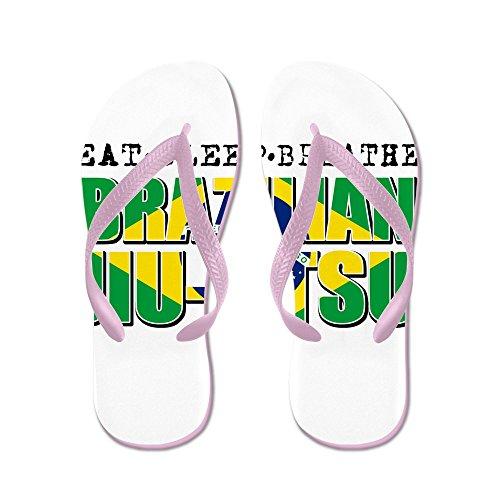 Cafepress Eat Sleep Brazilian Jiu Jitsu - Chanclas, Sandalias Thong Divertidas, Sandalias De Playa Rosa
