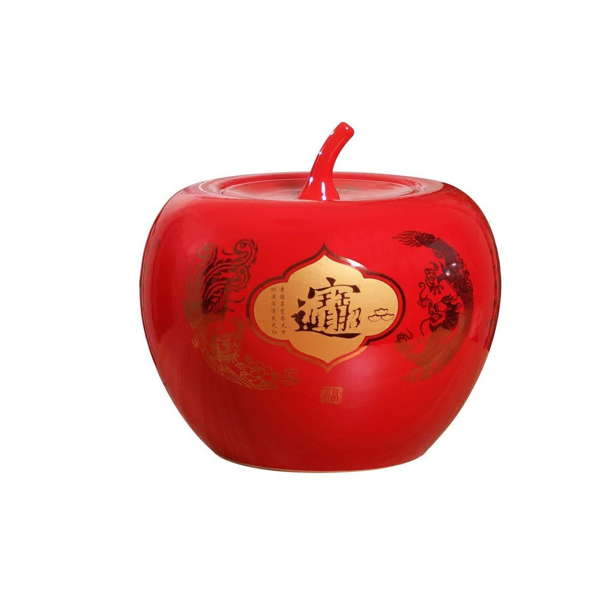 セラミックの装飾品景徳鎮セラミック花瓶の装飾、中国の人格創造的な装飾、現代中国家庭用ワインキャビネット装飾ディスプレイ、カバー付き小、中、大 (Size : Medium) B07SKR5M2B  Medium