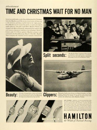 1936 Ad Hamilton Wrist Watches Jewelry Christmas China Clipper Airplanes Elinvar - Original Print (Hamilton Vintage Wrist Watch)
