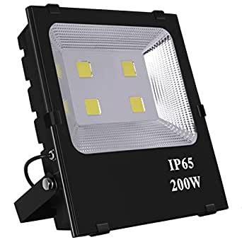 SZPIOSTAR 200W LED Flood Light (1200W Equivalent), 20000lm, Cool White 6000K, 50,000 Hrs Lifespan, Waterpoof IP65, Outdoor Light Fixtures for Building Yard Garden