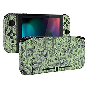 eXtremeRate Soft Touch Grip Back Plate for Nintendo Switch Console, NS Joycon Handheld Controller Housing with Full Set Buttons, DIY Shell for Nintendo Switch - 100$ Cash Money Patterned [Video Game]